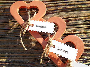 Darčeky pre svadobčanov - SRDCE S OTVOROM+ kartička ďakujeme - 6363763_