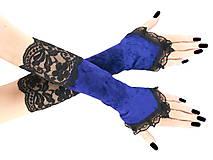 Rukavice - Dámské modré rukavice spoločenské 1180 - 6369323_