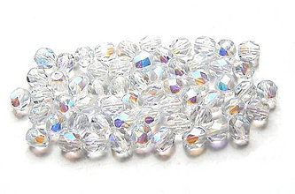Korálky - Brúsené korálky, krystal s AB pokovom, 4mm/20ks - 6367074_