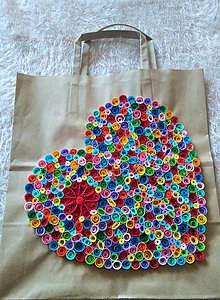 Papiernictvo - darčeková taška - srdiečko - quilling - 6366674_