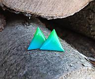 Trojuholníky 20 mm dúhové (zeleno-tyrkysové)