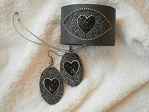 Sady šperkov - Kožený set - temné srdcia - 6365773_