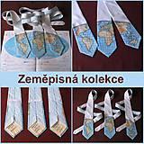 Doplnky - Zeměpisná kravata AFRIKA A EVROPA (bílá) - 6369566_