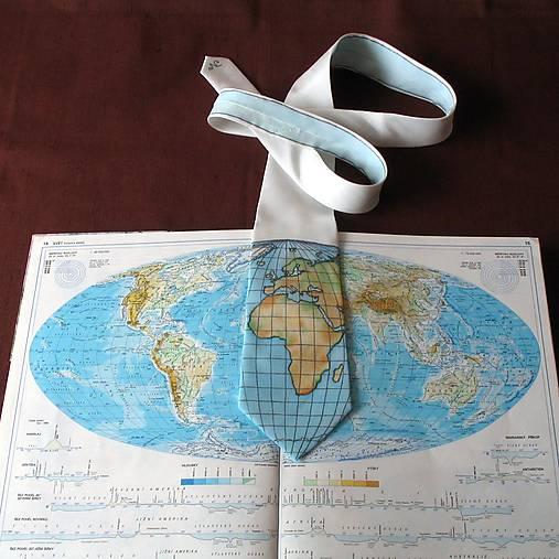 Zeměpisná kravata AFRIKA A EVROPA (bílá)
