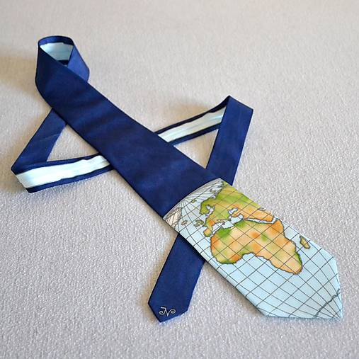 Zeměpisná kravata AFRIKA A EVROPA (barevná)