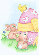 Kresby - Veľkonoční zajačikovia a veľkonočné vajíčko - 6368983_