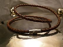Šperky - na krk - kožený hnedý 4mm - 6371420_