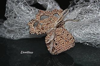 Taštičky - Adelaida - háčkovaný darčekový meštek na šperk - 6374184_