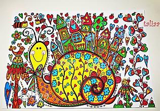 Kresby - SLIMÁK OLIVER - originál maľovaný obrázok - 6373609_