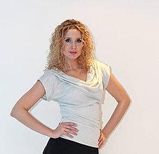 Tričká - Stříbrná halenka s vodou - 6375802_