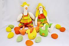 Dekorácie - Veľkonočná kanafasová húska, zajko, kačičky a vajíčka - 6374642_
