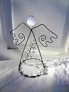 Dekorácie - orgovánový anjel ...biely - 6374731_