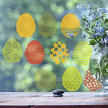 Dekorácie - Vajíčka jarně barevná- přelepovací nálepky na okno - 6375908_