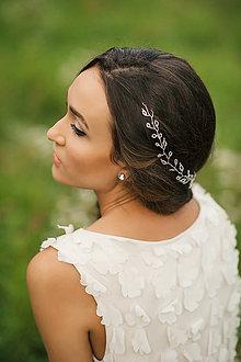 Ozdoby do vlasov - Svadobná čelenka, svadobný polvenček z korálikov (Zlatá) - 6378592_