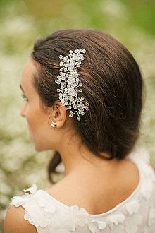 Ozdoby do vlasov - Sadobný kryštálikový hrebienok do vlasov (Zlatá) - 6379168_