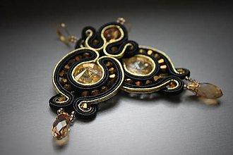 Náušnice - ples v opere - štebotavé elegantné náušnice (čierno-zlaté) - 6378308_