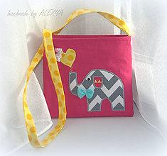 Detské tašky - Kabelka Sloník 18 x 16 cm - 6376599_