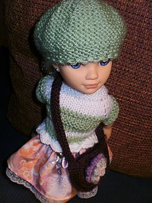 Bábiky - Pulóver, suknička, čiapka a kabelka - 6378478_