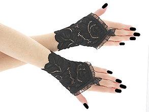 Rukavice - Dámské čierné čipkové rukavice 05P1 - 6381424_