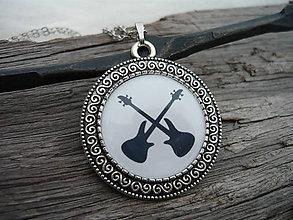 Náhrdelníky - Náhrdelník Rock Guitars+ náušničky jako dárek - 6382623_