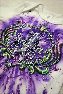 Detské oblečenie - 1.narodeniny s venčekom fialové - body - 6383683_