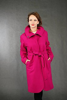 Kabáty - FUCHSIA - kabát vlna / kašmír - 6380054_