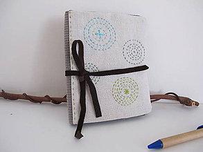 Úžitkový textil - Prebal na zápisník A6- čarokruhy - 6382298_