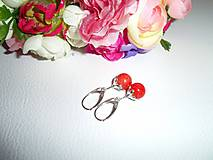 Náušnice - pomarančový kvet  - náušnice striebro a jadeit - 6381751_