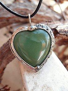 Náhrdelníky - Srdce zelené - 6379631_