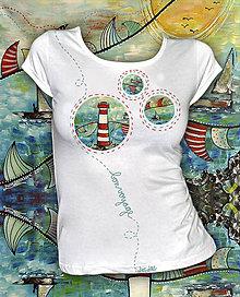Tričká - Letné tričko s motívom majáka Bon Voyage - 6380939_
