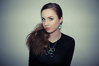 Náhrdelníky - metal & tyrkys washi náhrdelník - 6387257_