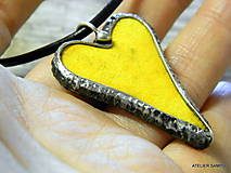 Náhrdelníky - SRDIEČKO žlté - 6385005_