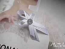 Pierka - svadobné pierko biela & strieborná - 6384342_