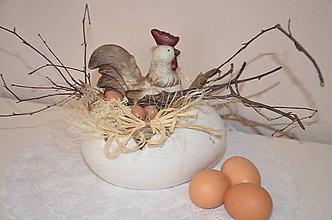 Dekorácie - Maxi vajíčko s kohútom - 6389901_