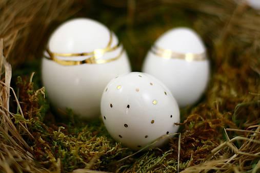 Dekorácie - Keramické vajíčko zlato/platina stredné - 6390366_