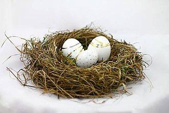Dekorácie - Keramické vajíčko zlato/platina veľké - 6390634_