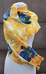 Šatky - Hodvábna šatka - Žlté kvety - plumérie - 6391097_