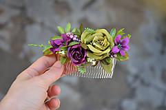 Ozdoby do vlasov - Hrebienok ...vôňa fialiek a ruží.... - 6389167_