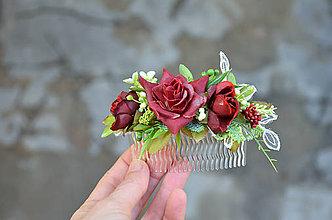 Ozdoby do vlasov - Hrebienok ...čaro ruží... - 6389154_