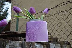 """Dekorácie - váza fialová  """"dve fialky - SET """" - 6390456_"""