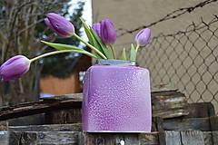 """Dekorácie - váza fialová  """"dve fialky - SET """" - 6390510_"""