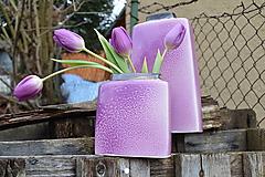 """Dekorácie - váza fialová  """"dve fialky - SET """" - 6390511_"""