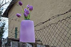 """Dekorácie - váza fialová  """"dve fialky - SET """" - 6390520_"""