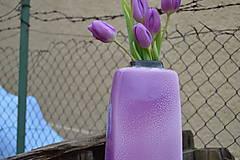 """Dekorácie - váza fialová  """"dve fialky - SET """" - 6390526_"""