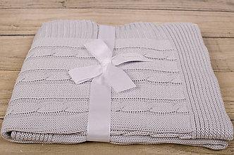 Textil - Jarná/LetnáPletená Deka OEKO-TEX® do Kočíka a Postieľky vzor Vrkoč - Sivá - 6388840_