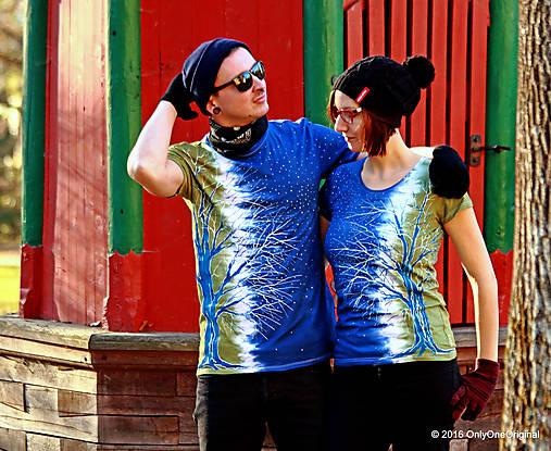 Dámske a pánske tričká párové so stromami batikované a maľované RANDE POD LIPOU