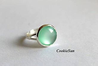 Náušnice - Glamour Mint (Prsteň 12mm) - 6390687_
