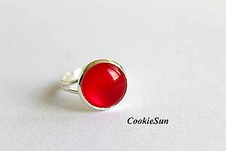 Náušnice - Glamour Red (Prsteň 12mm) - 6390696_