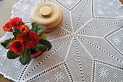 Úžitkový textil - Háčkovaná okrúhla dečka s hviezdou - 6389450_