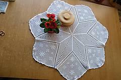 Úžitkový textil - Háčkovaná okrúhla dečka s hviezdou - 6389458_